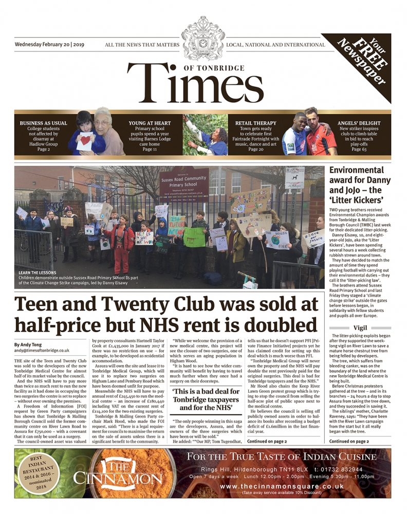 Read the Times of Tonbridge 20th February 2019
