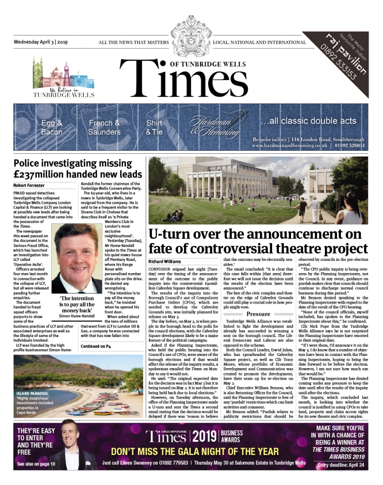 Read the Times of Tunbridge Wells 3rd April 2019