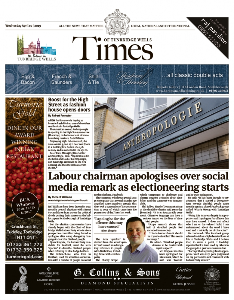 Read the Times of Tunbridge Wells 10th April 2019