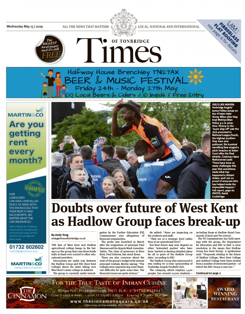 Read the Times of Tonbridge 15th May 2019