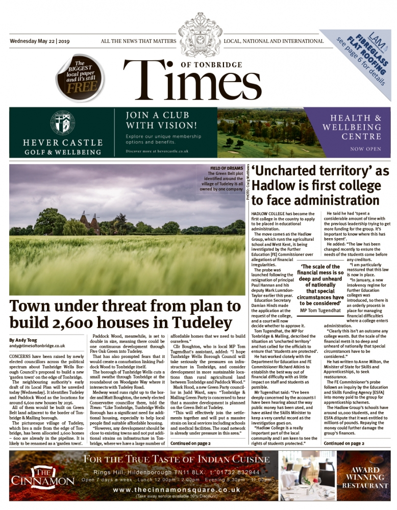 Read the Times of Tonbridge 22nd May 2019