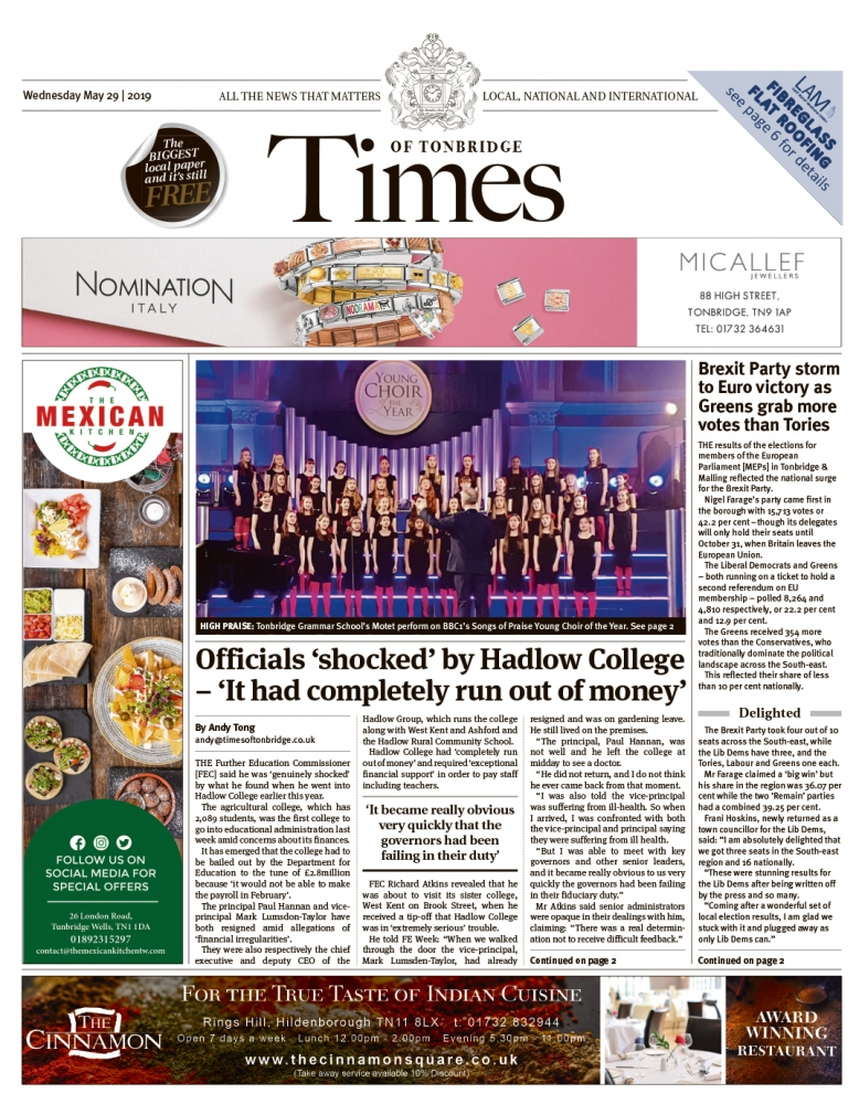 Read the Times of Tonbridge 29th May 2019