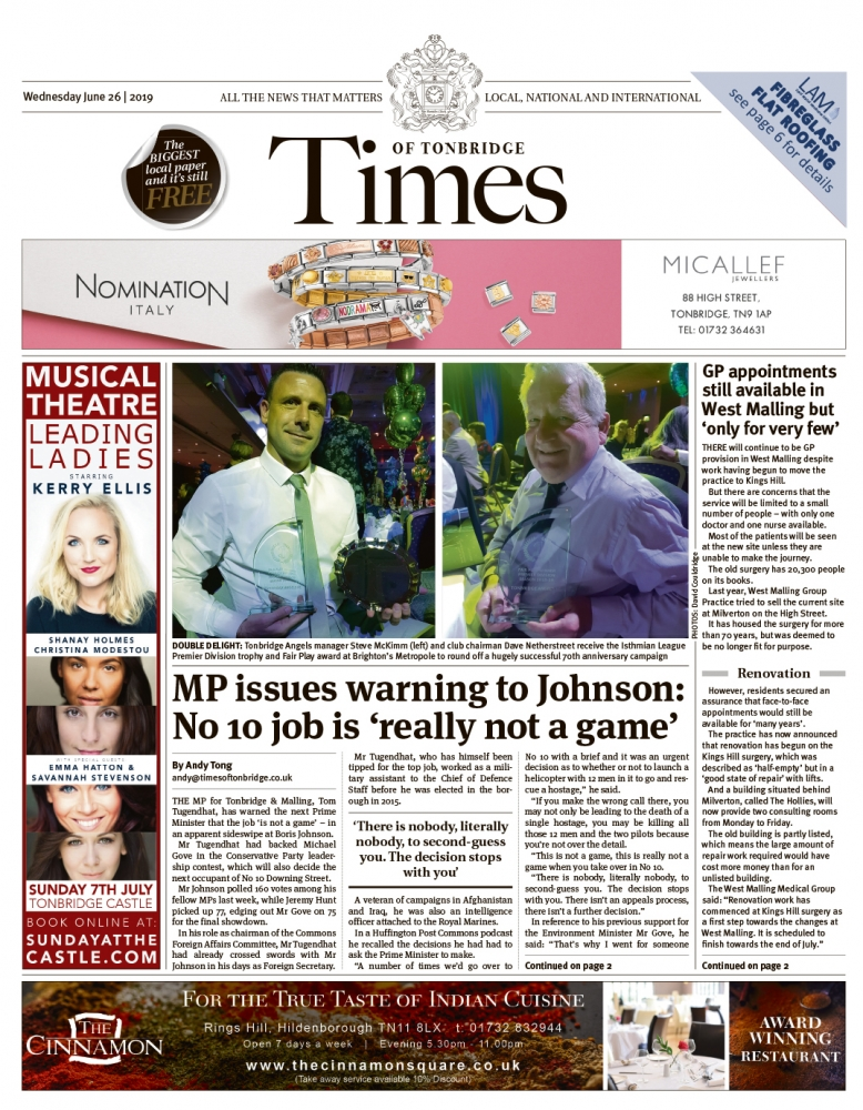 Read the Times of Tonbridge 26th June 2019