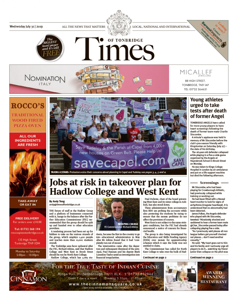 Read the Times of Tonbridge 31st July 2019