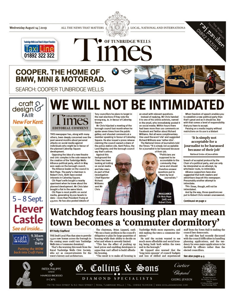 Read the Times of Tunbridge Wells 14th August 2019