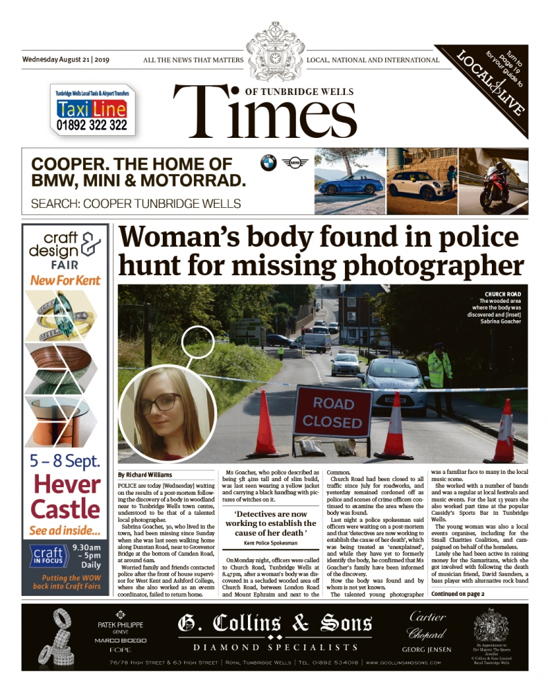 Read the Times of Tunbridge Wells 21st August 2019