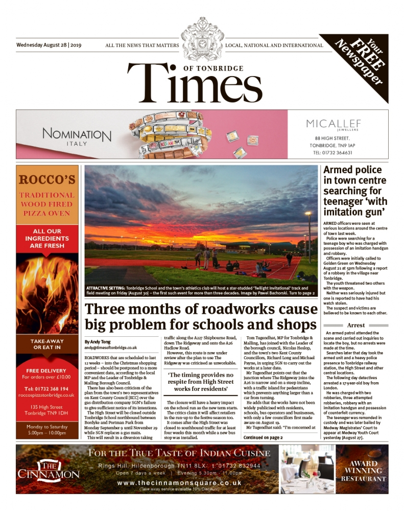 Read the Times of Tonbridge 28th August 2019