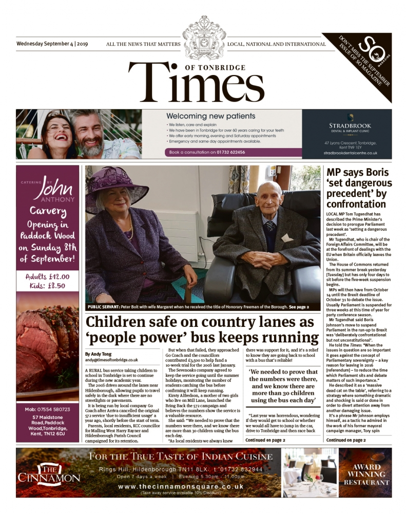 Read the Times of Tonbridge 4th September 2019
