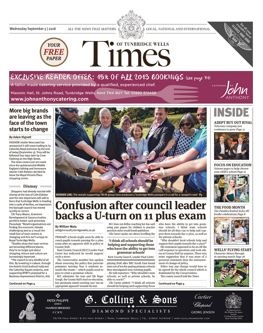 Read the Times of Tunbridge Wells 5th September 2018