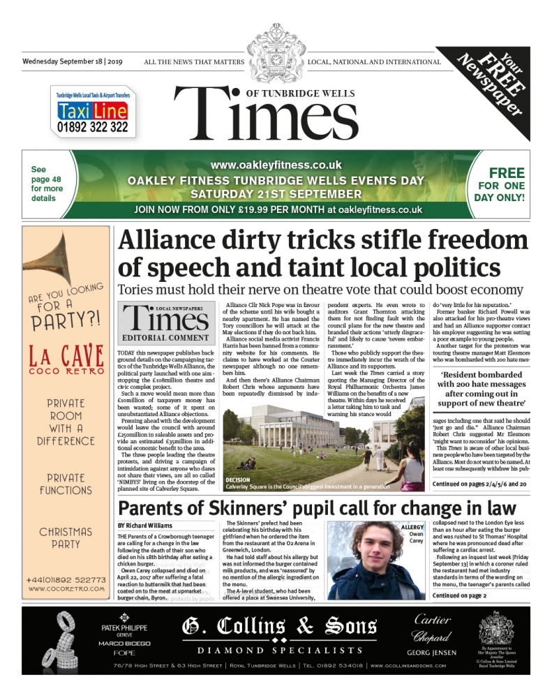 Read the Times of Tunbridge Wells 18th September 2019