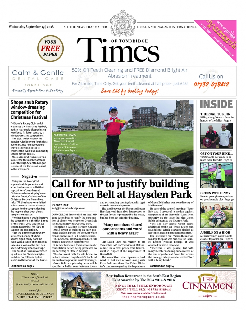 Read the Times of Tonbridge 19th September 2018