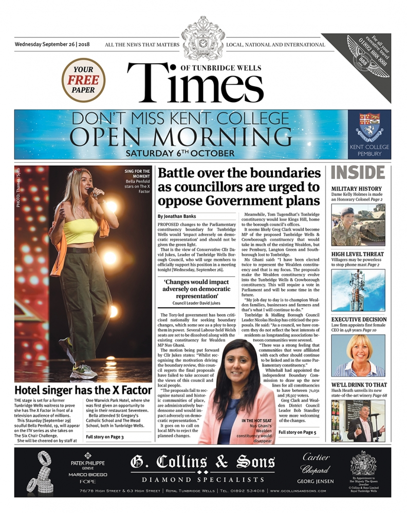 Read the Times of Tunbridge Wells 26th September 2018