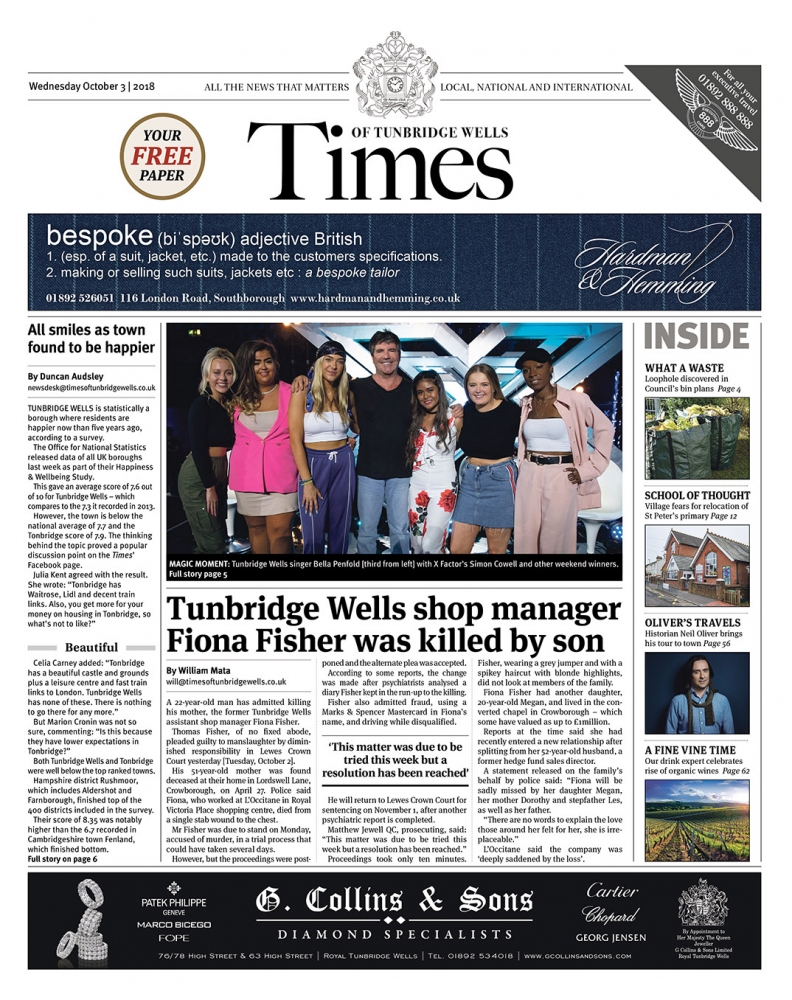 Read the Times of Tunbridge Wells 3rd October 2018