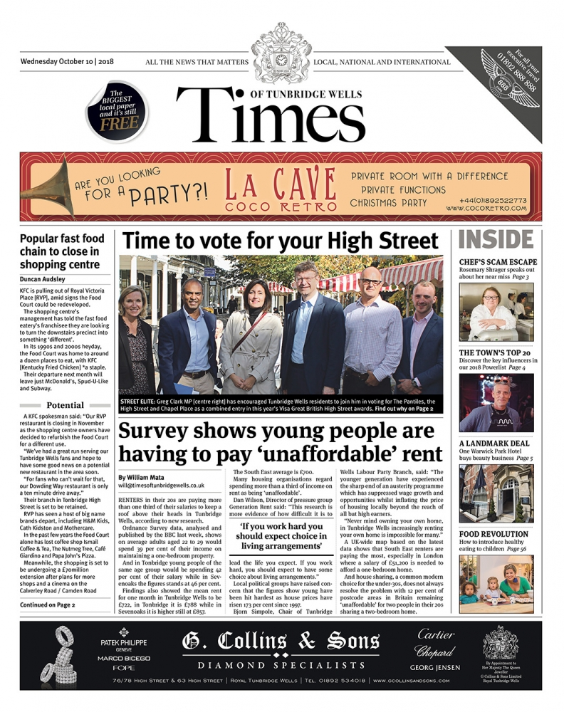 Read the Times of Tunbridge Wells 10th October 2018