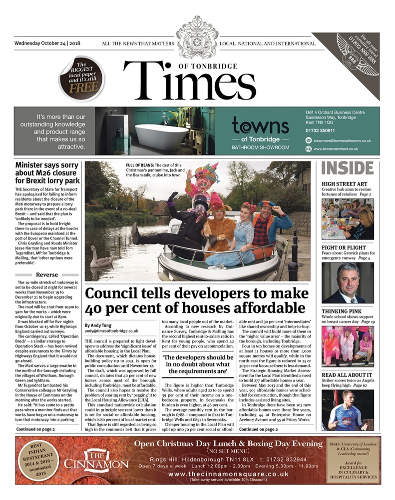 Read the Times of Tonbridge 24th October 2018