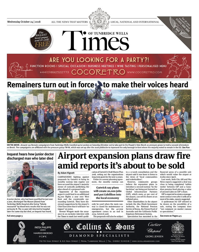 Read the Times of Tunbridge Wells 24th October 2018