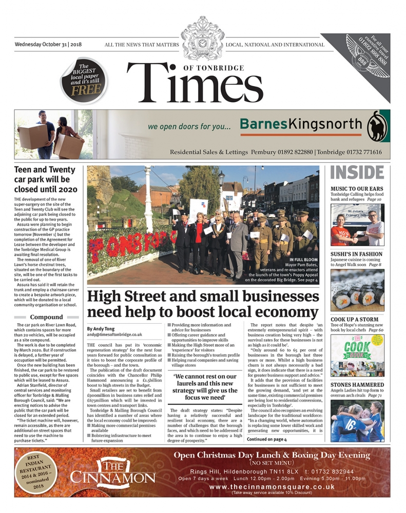 Read the Times of Tonbridge 31st October 2018