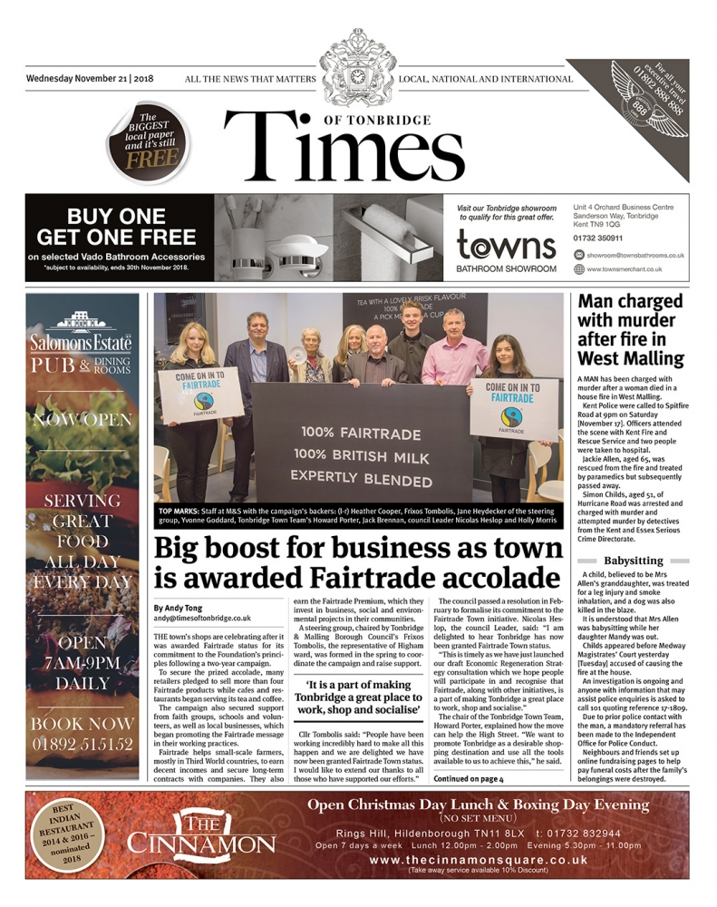 Read the Times of Tonbridge 21st November 2018