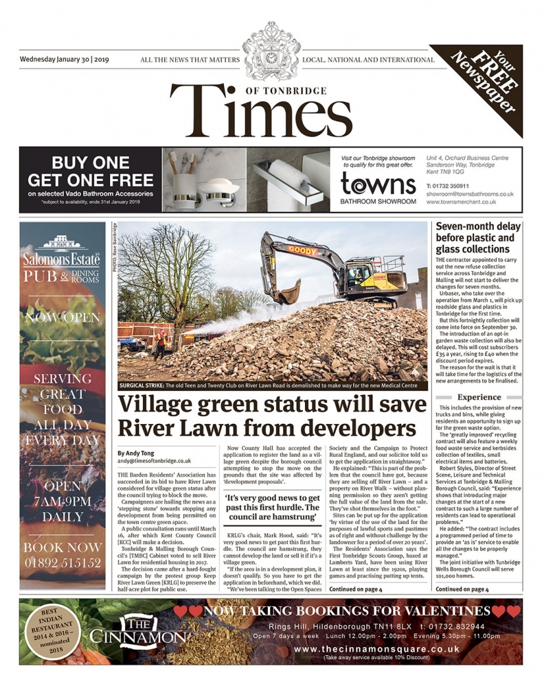 Read the Times of Tonbridge 30th January 2019