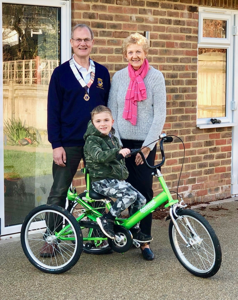 Connor can ride to school thanks to Tonbridge Lions' donation