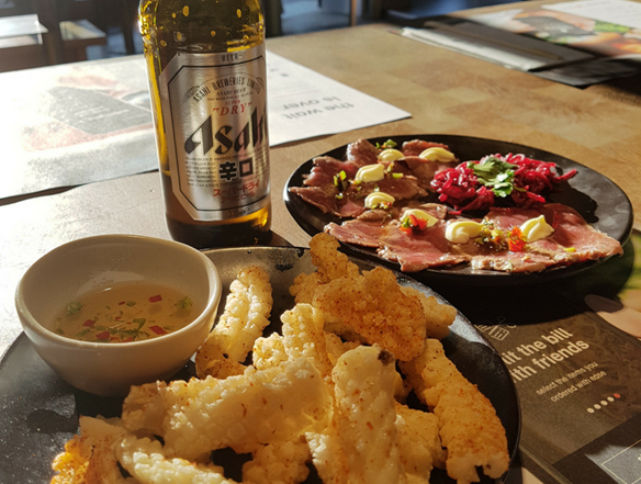 Wgamama's beef tataki and chilli squid are perfect for hot days like this one