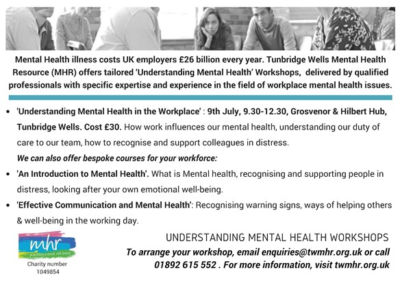 Tunbridge Wells Mental Health Resource offer courses for workplaces