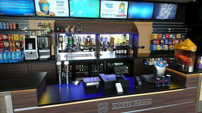 The Scott Cinema in East Grinstead has a well-stocked bar!