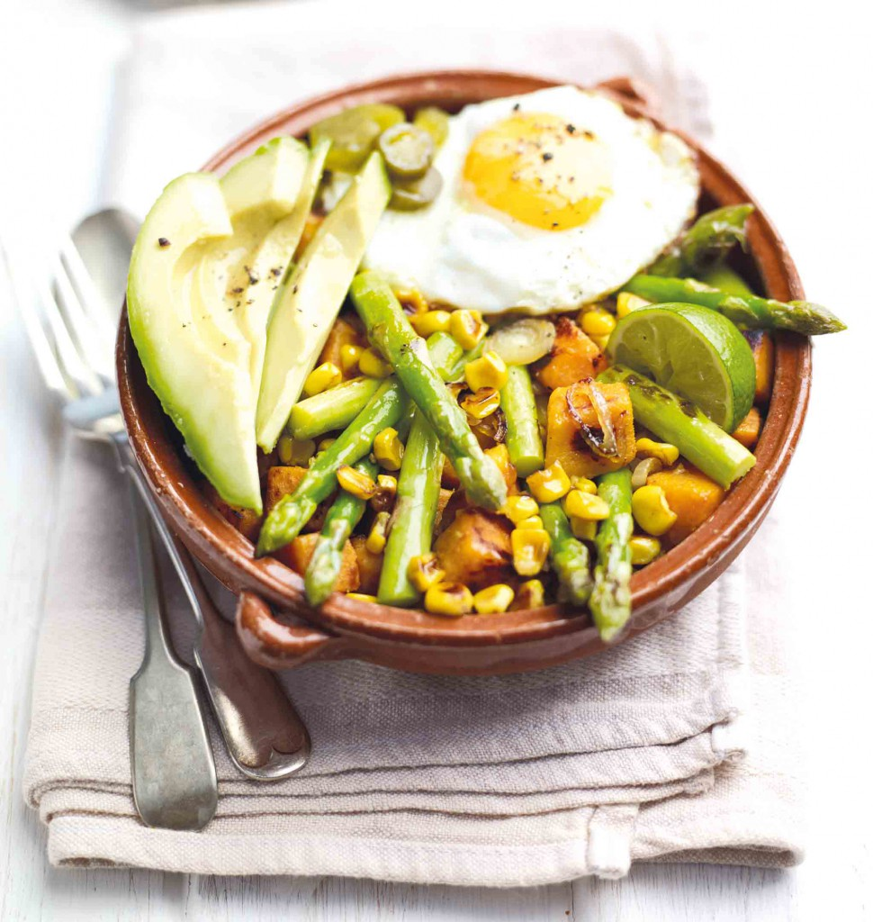 British Asparagus and Sweet Potato Hash with Avocado and Egg