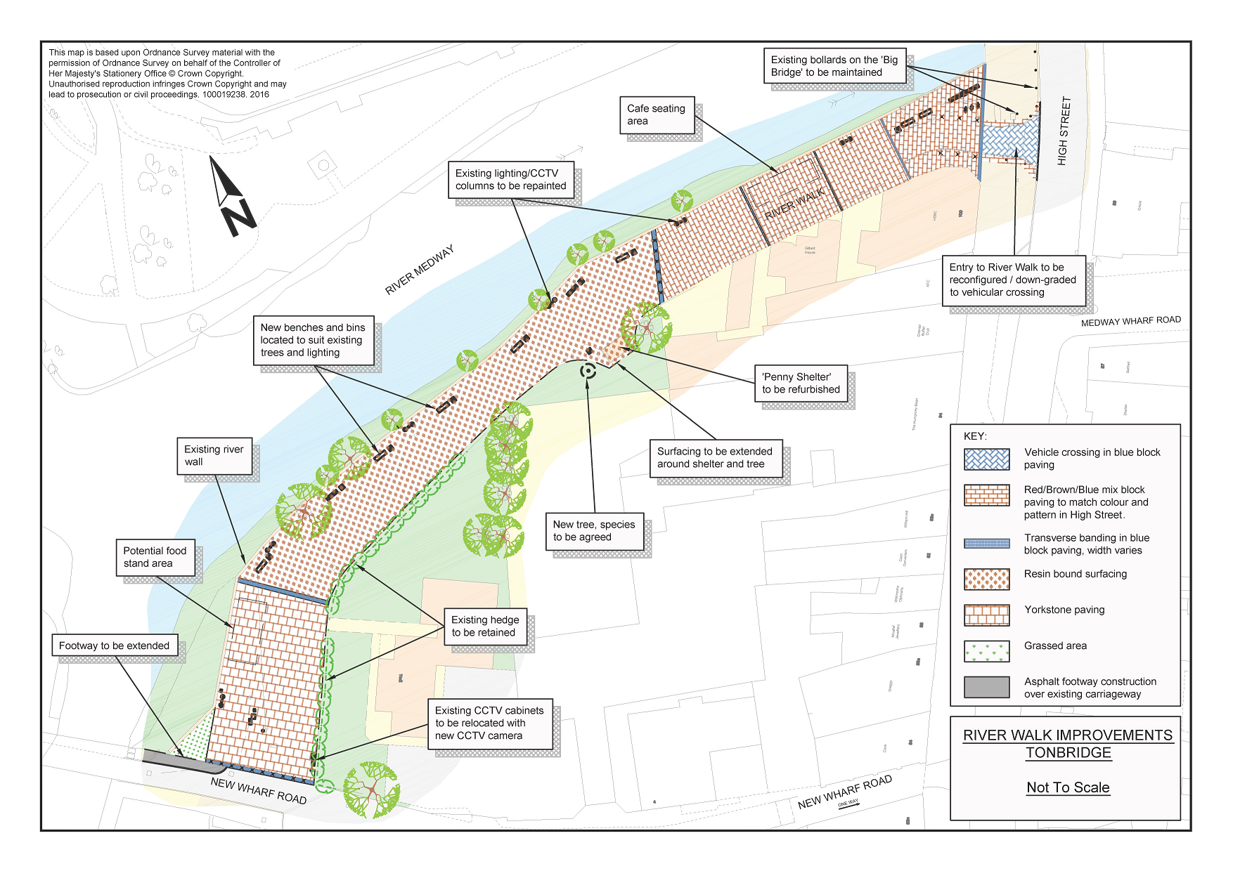 A map of the River Walk renovations