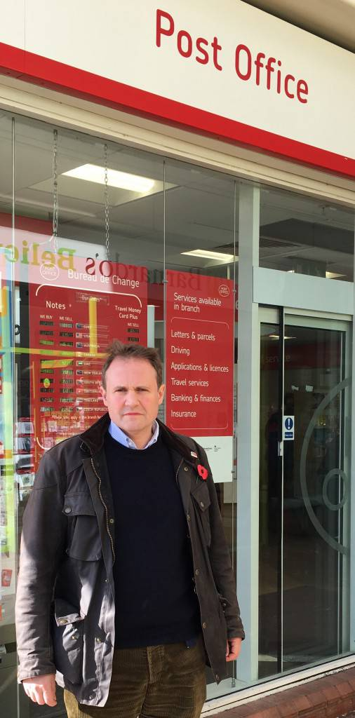 Tom Tugendhat MP outside the Crown Post Office