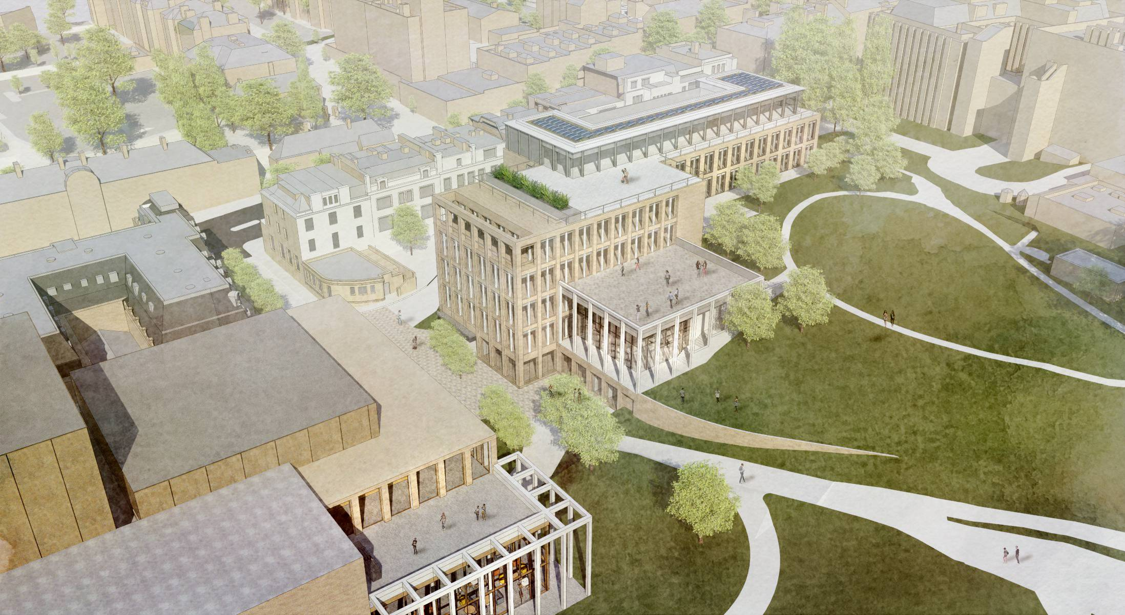 A bird's eye view of the planned theatre (left) and civic complex (right)
