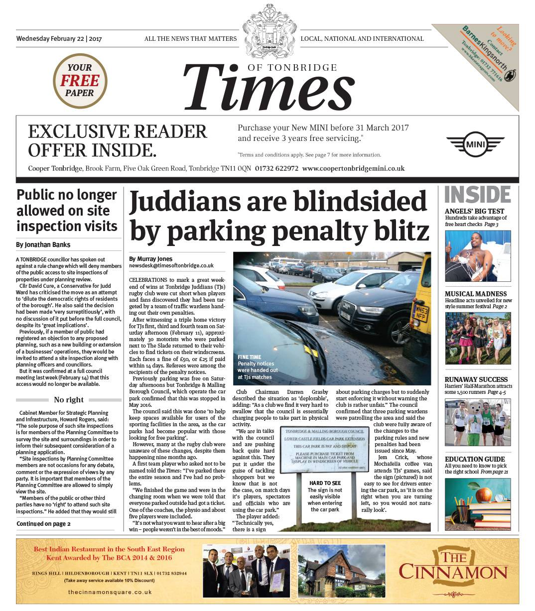 Read the Times of Tonbridge 22nd February 2017