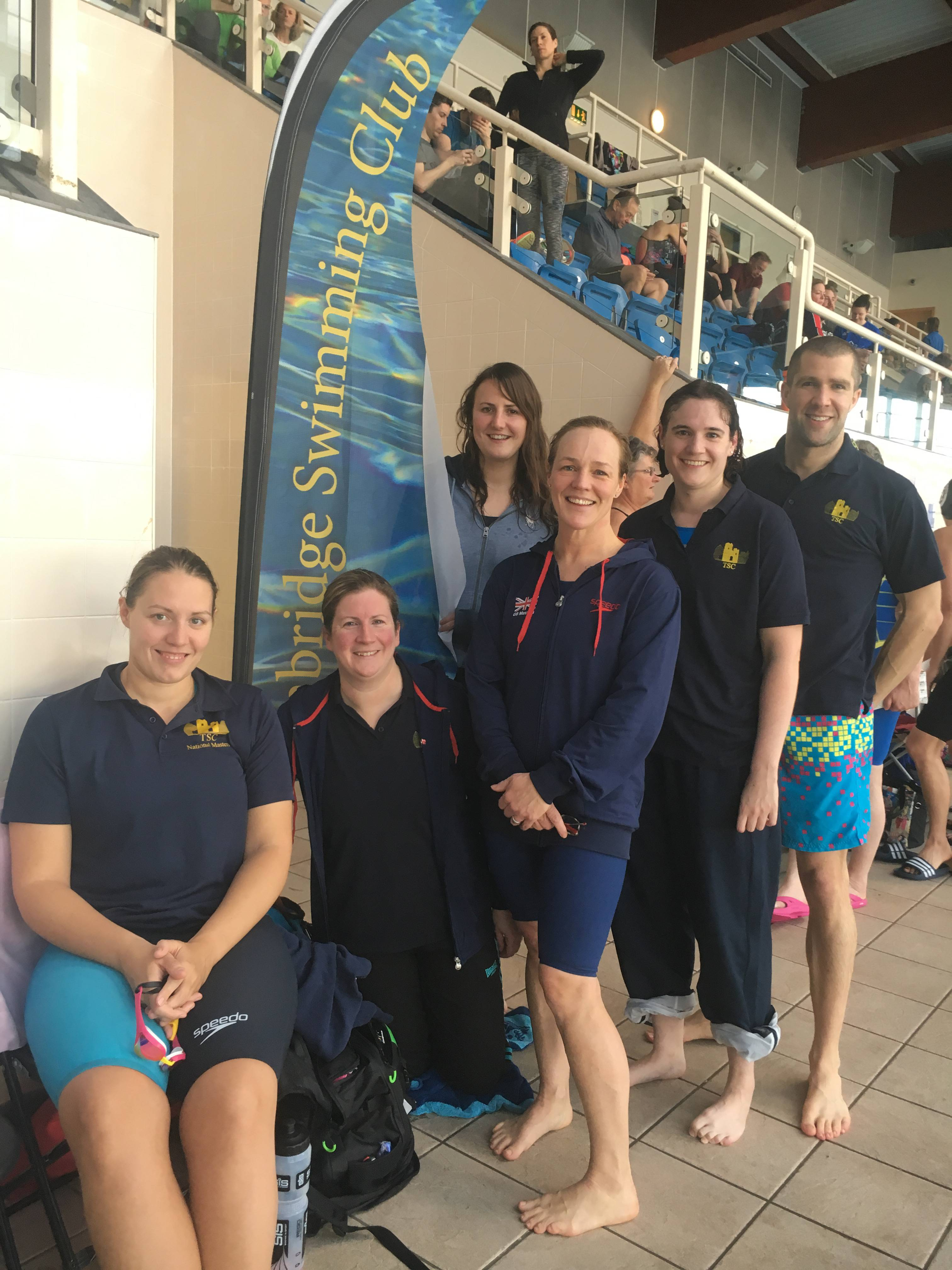 POOL RESOURCES Tonbridge's successful Masters squad – (l-r) Carly Moon, Suzie Hall Kirsty Alfredson, Rebecca Pritchard, Georgina Hamilton and Stewart Grant