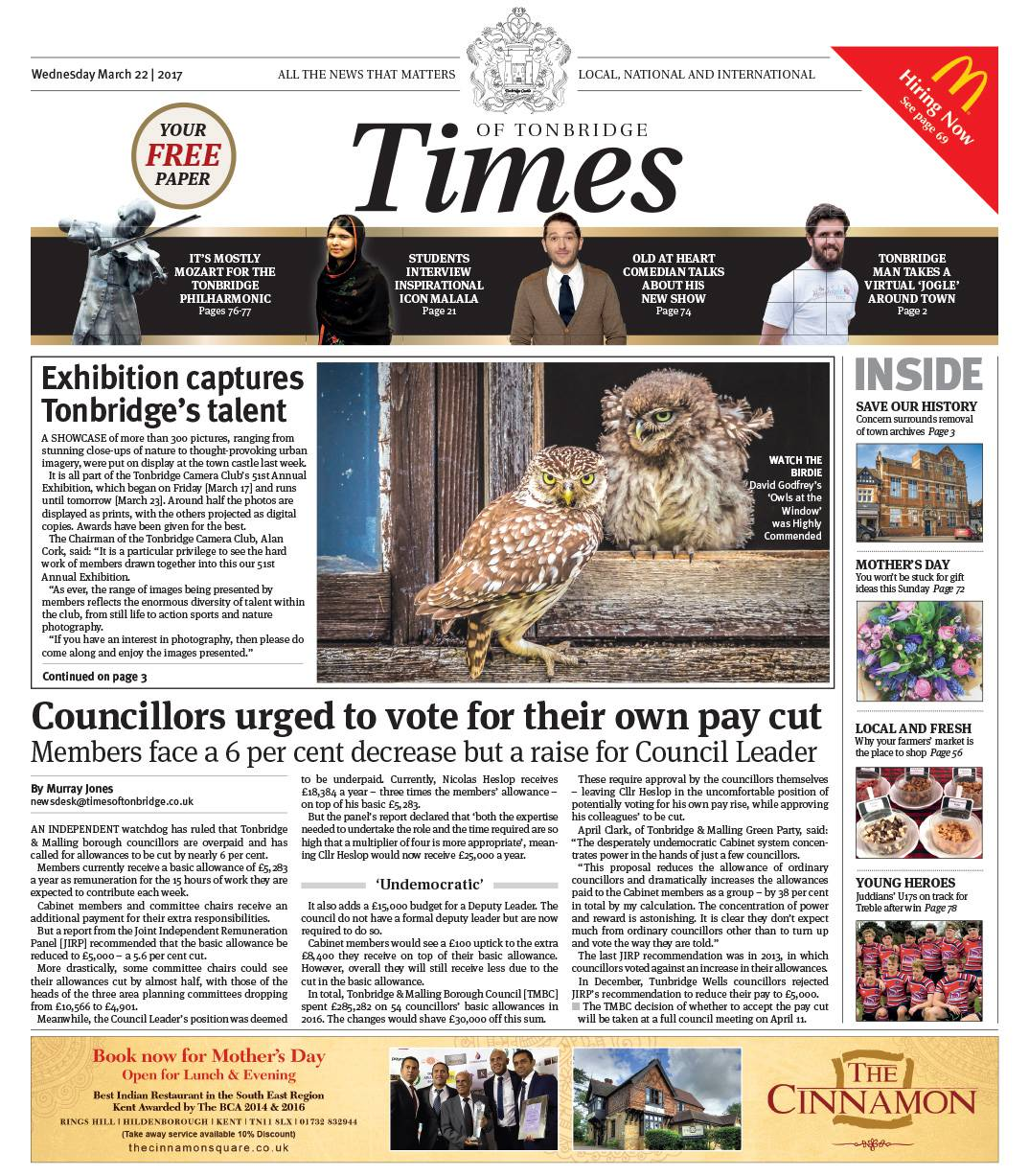 Read the Times of Tonbridge 22nd March 2017