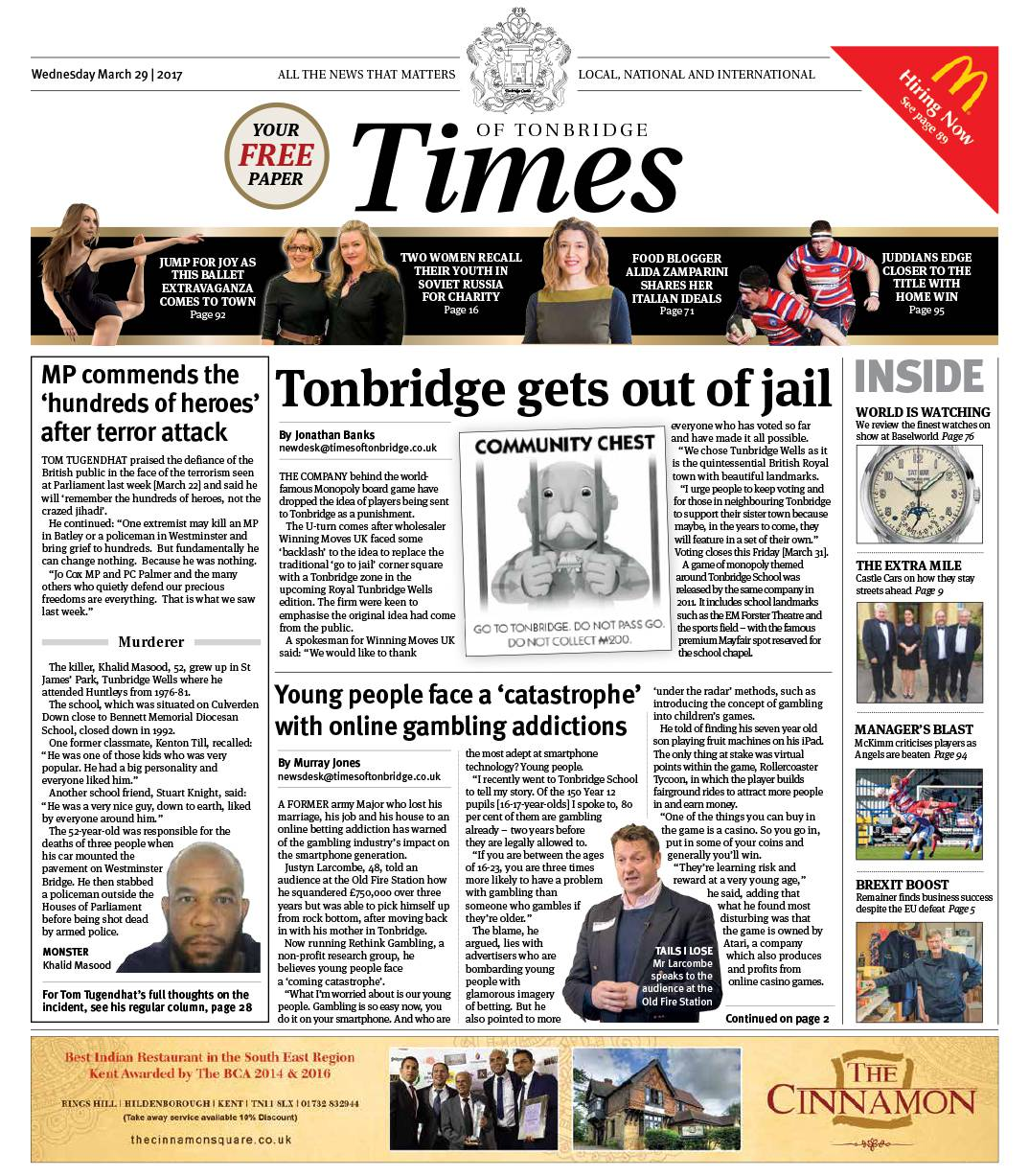 Read the Times of Tonbridge 29th March 2017