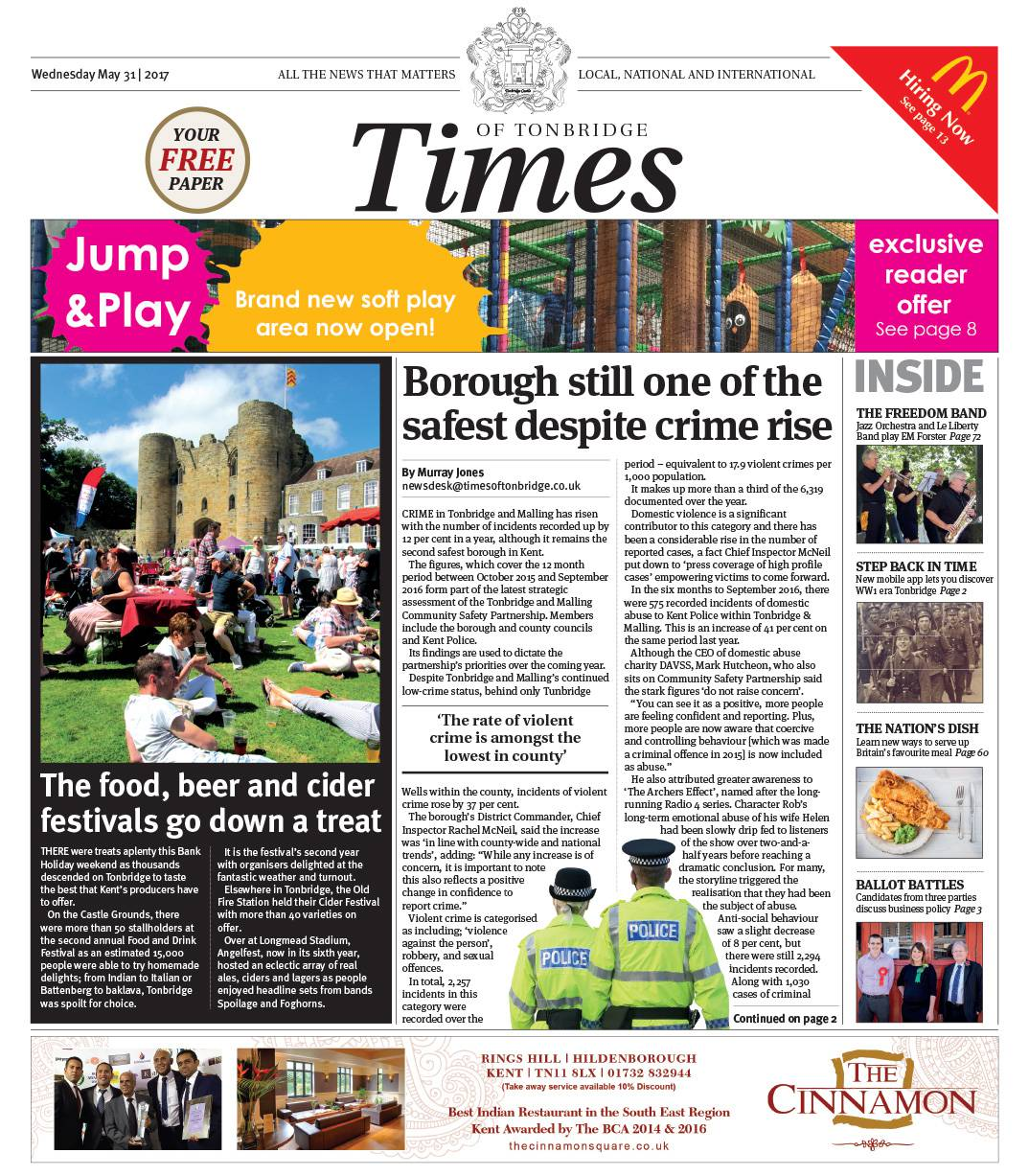 Read the Times of Tonbridge 31st May 2017