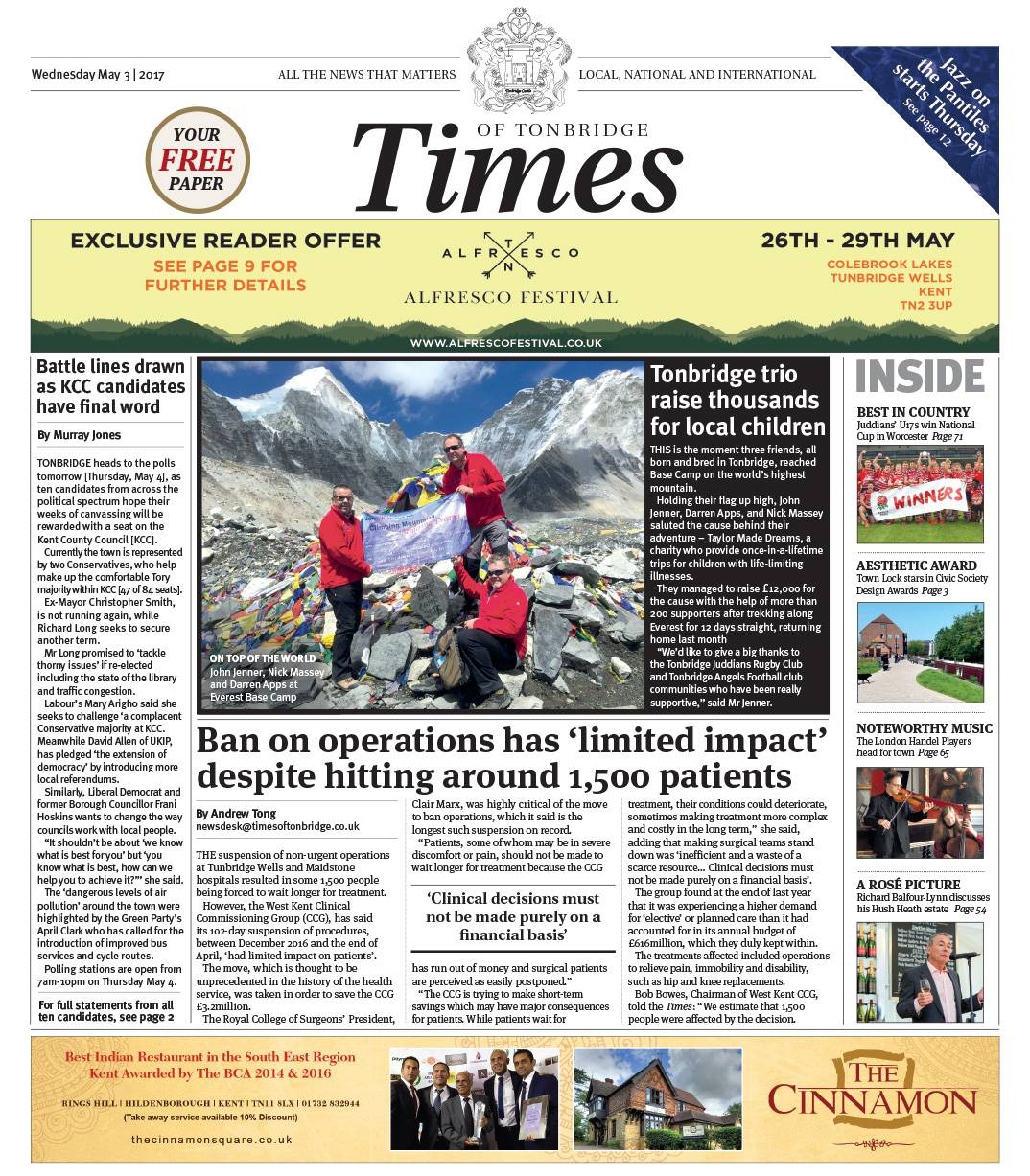 Read the Times of Tonbridge 3rd May 2017