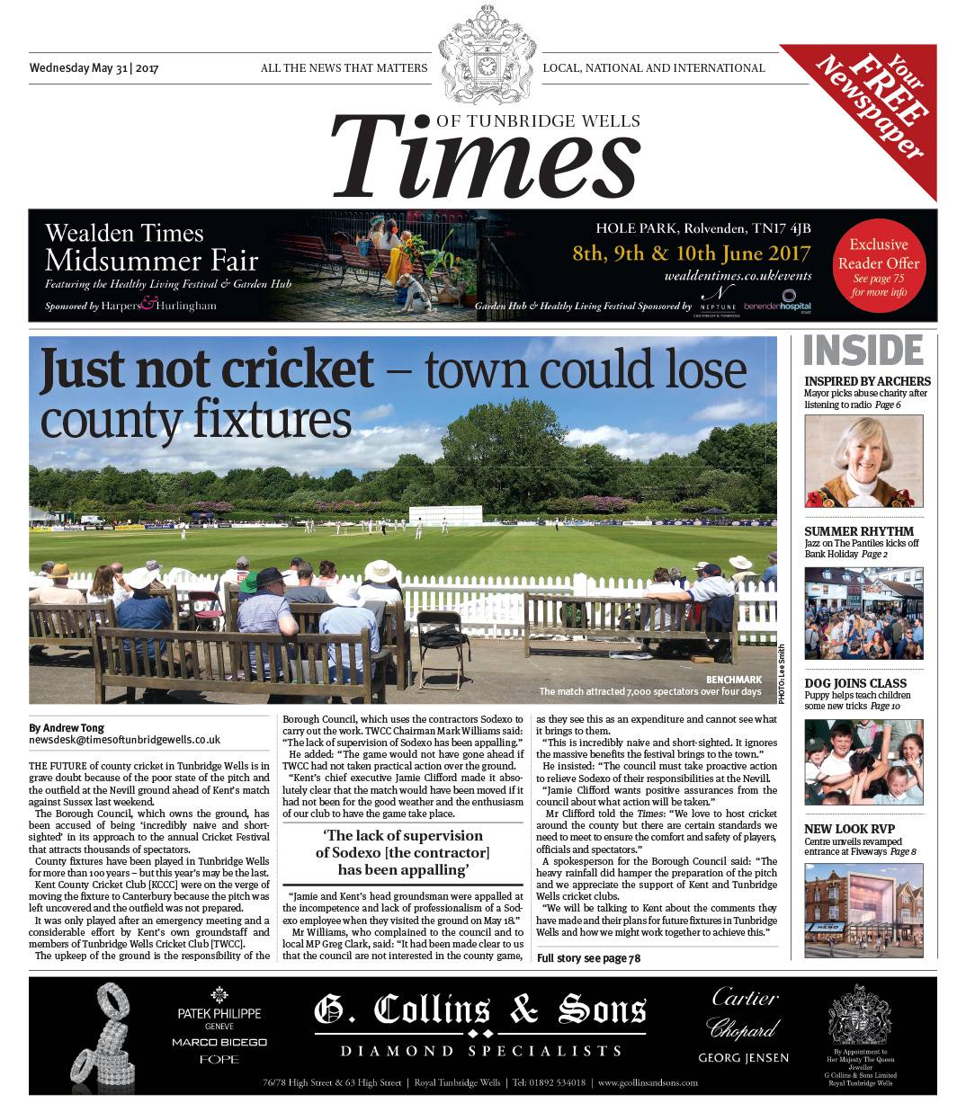 Read the Times of Tunbridge Wells 31st May 2017