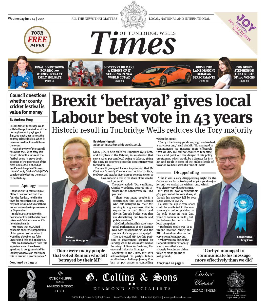 Read the Times of Tunbridge Wells 14th June 2017