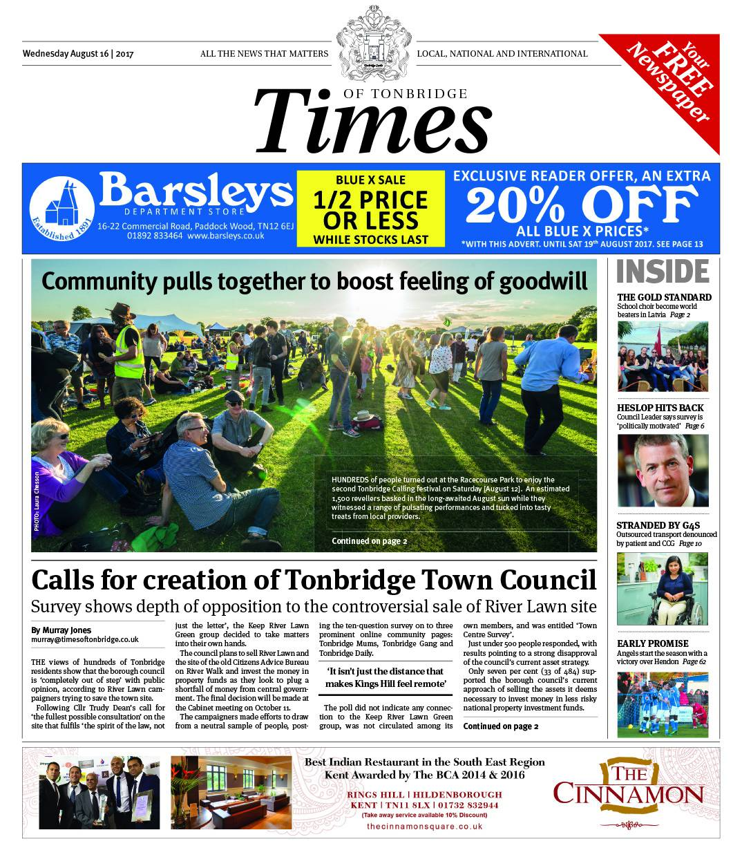 Read the Times of Tonbridge 16th August 2017