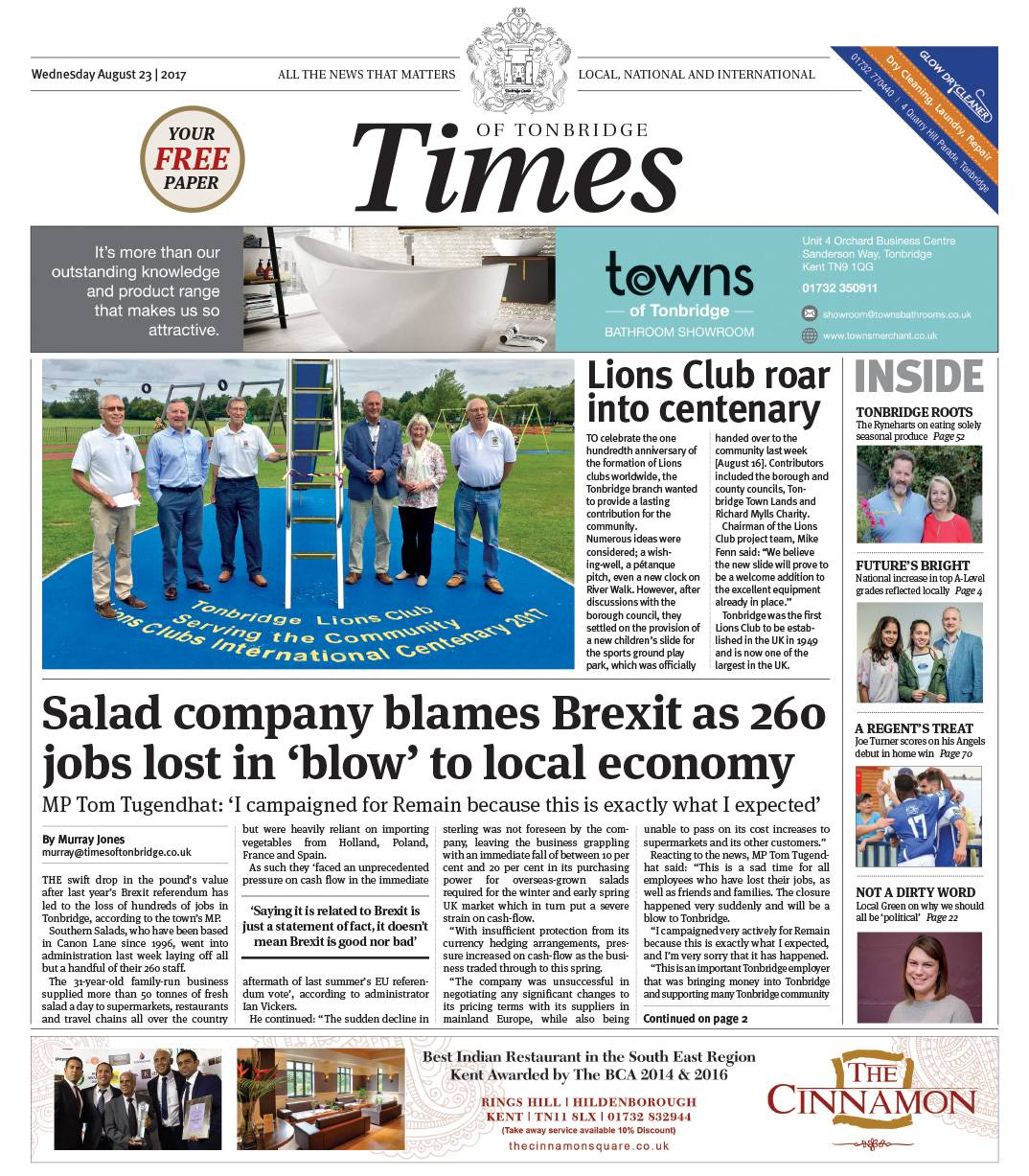 Read the Times of Tonbridge 23rd August 2017