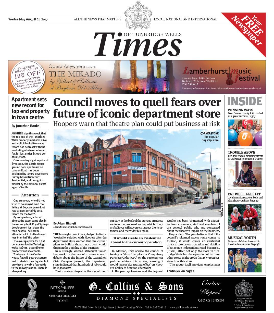 Read the Times of Tunbridge Wells 2nd August 2017