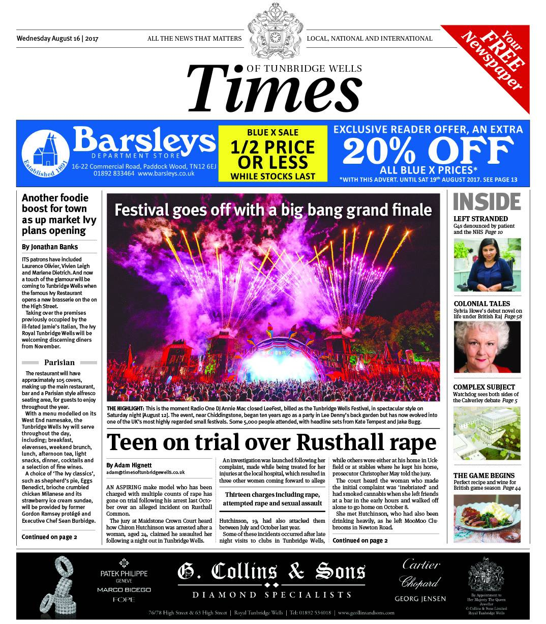 Read the Times of Tunbridge Wells 16th August 2017