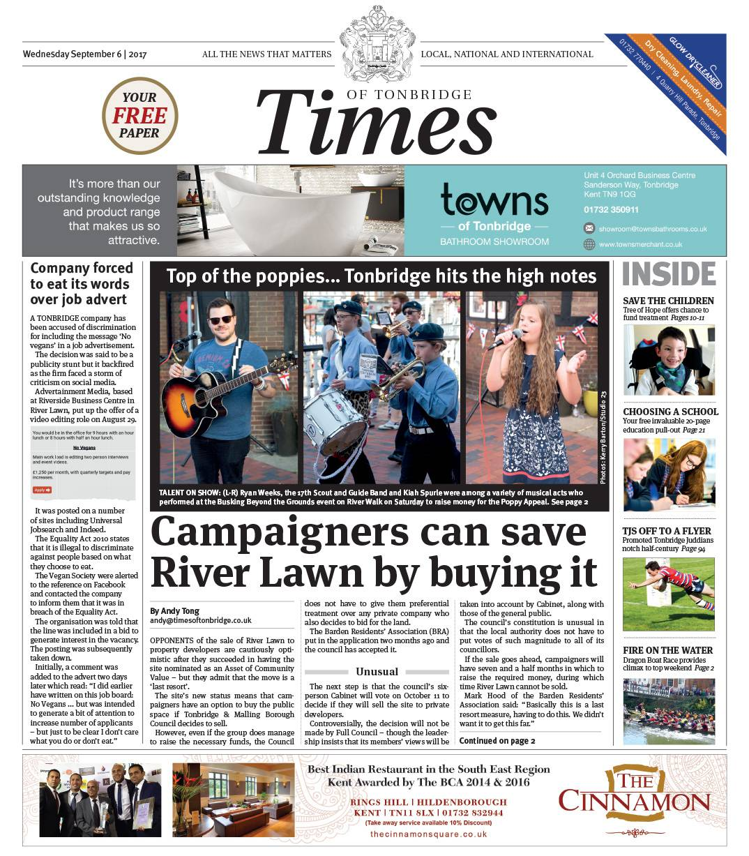 Read the Times of Tonbridge 6th September 2017