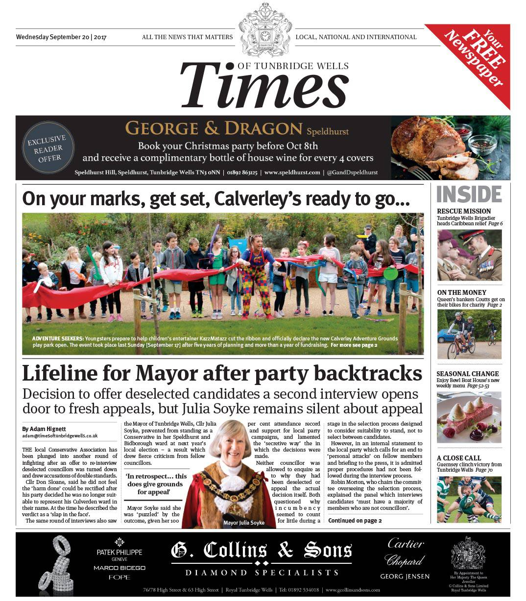 Read the Times of Tunbridge Wells 20th September 2017