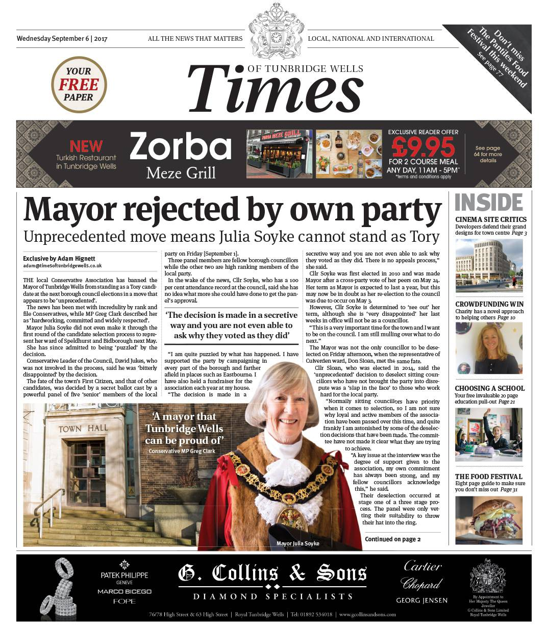 Read the Times of Tunbridge Wells 6th September 2017
