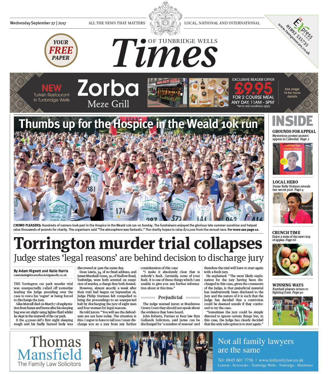 Read the Times of Tunbridge Wells 27th September 2017