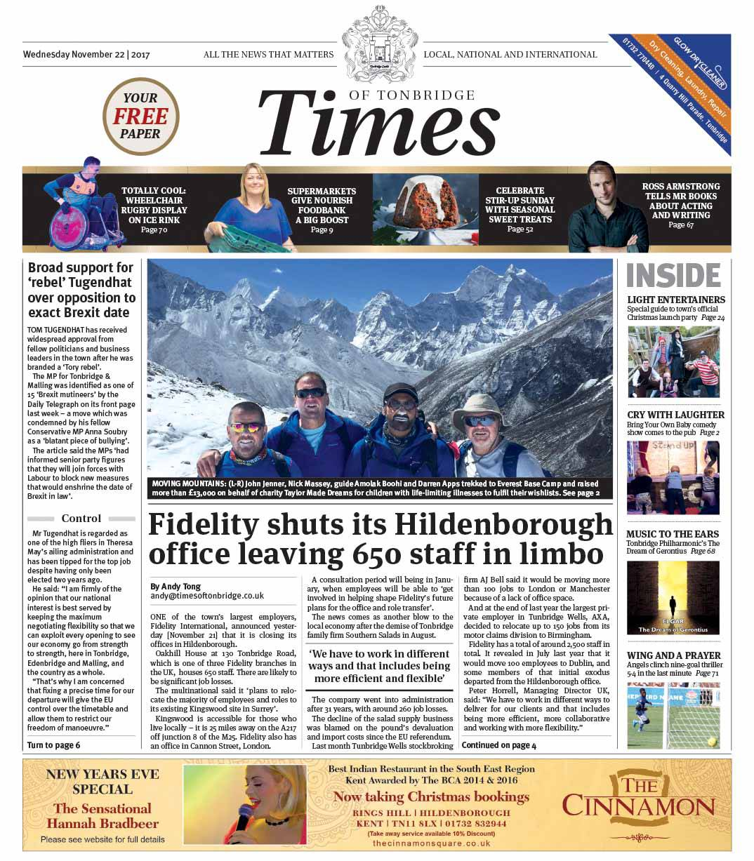 Read the Times of Tonbridge 22nd November 2017