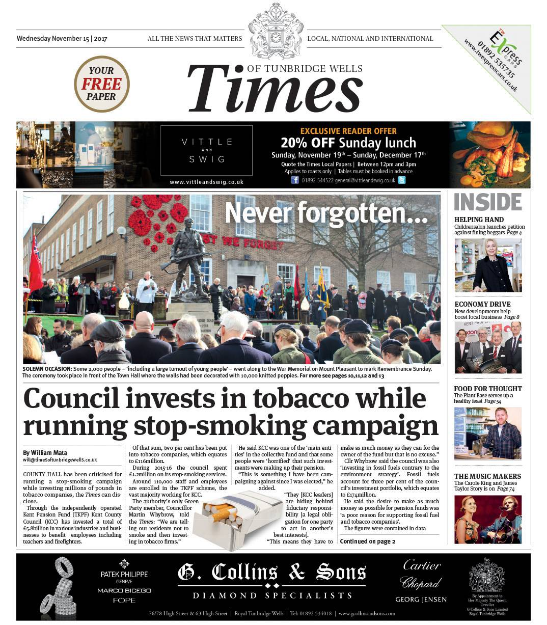 Read the Times of Tunbridge Wells 15th November 2017