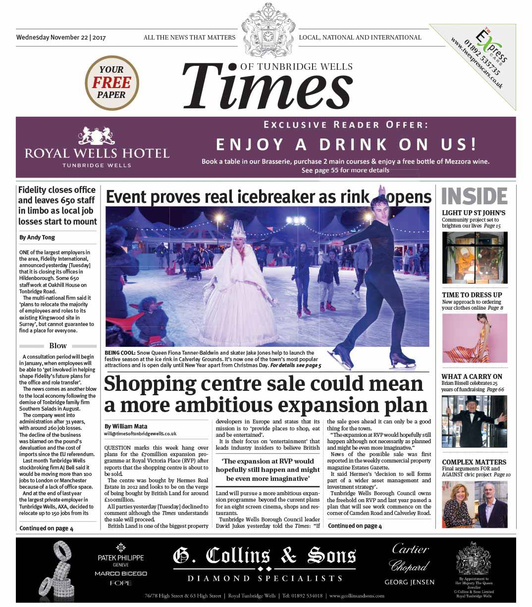 Read the Times of Tunbridge Wells 22nd November 2017